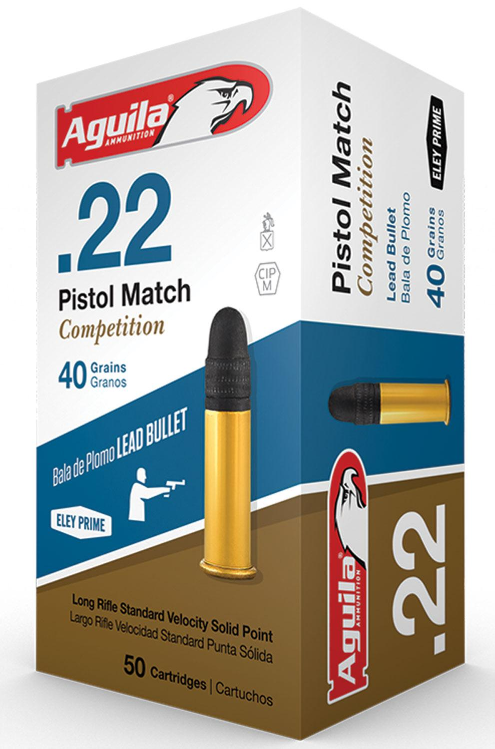 Aguila 1b222516 Match Competition Standard Velocity 22 Long Rifle (Lr) 40 Gr Lead Round Nose 50 Bx/100 Cs