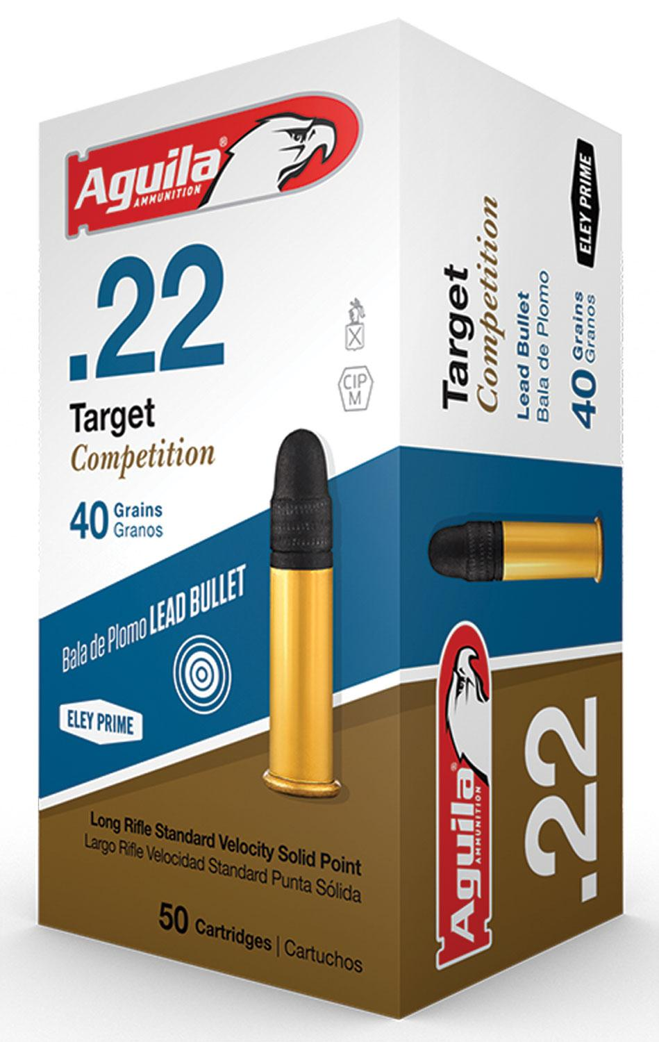 Aguila 1b222514 Match Competition Standard Velocity 22 Long Rifle (Lr) 40 Gr Lead Round Nose 50 Bx/100 Cs