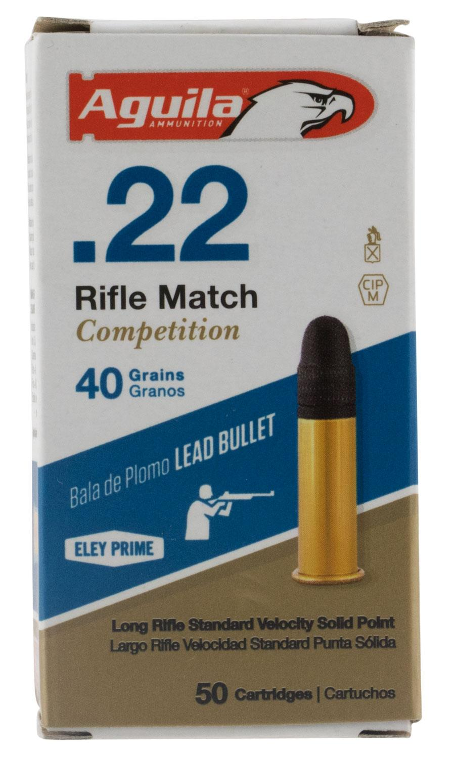 Aguila 1b222518 Match Competition Standard Velocity 22 Long Rifle (Lr) 40 Gr Lead Round Nose 50 Bx/100 Cs