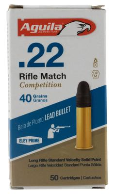 Aguila 1B222518 Match Competition Standard Velocity 22 Long Rifle (LR) 40 GR Lead Round Nose 50 Bx/ 100 Cs