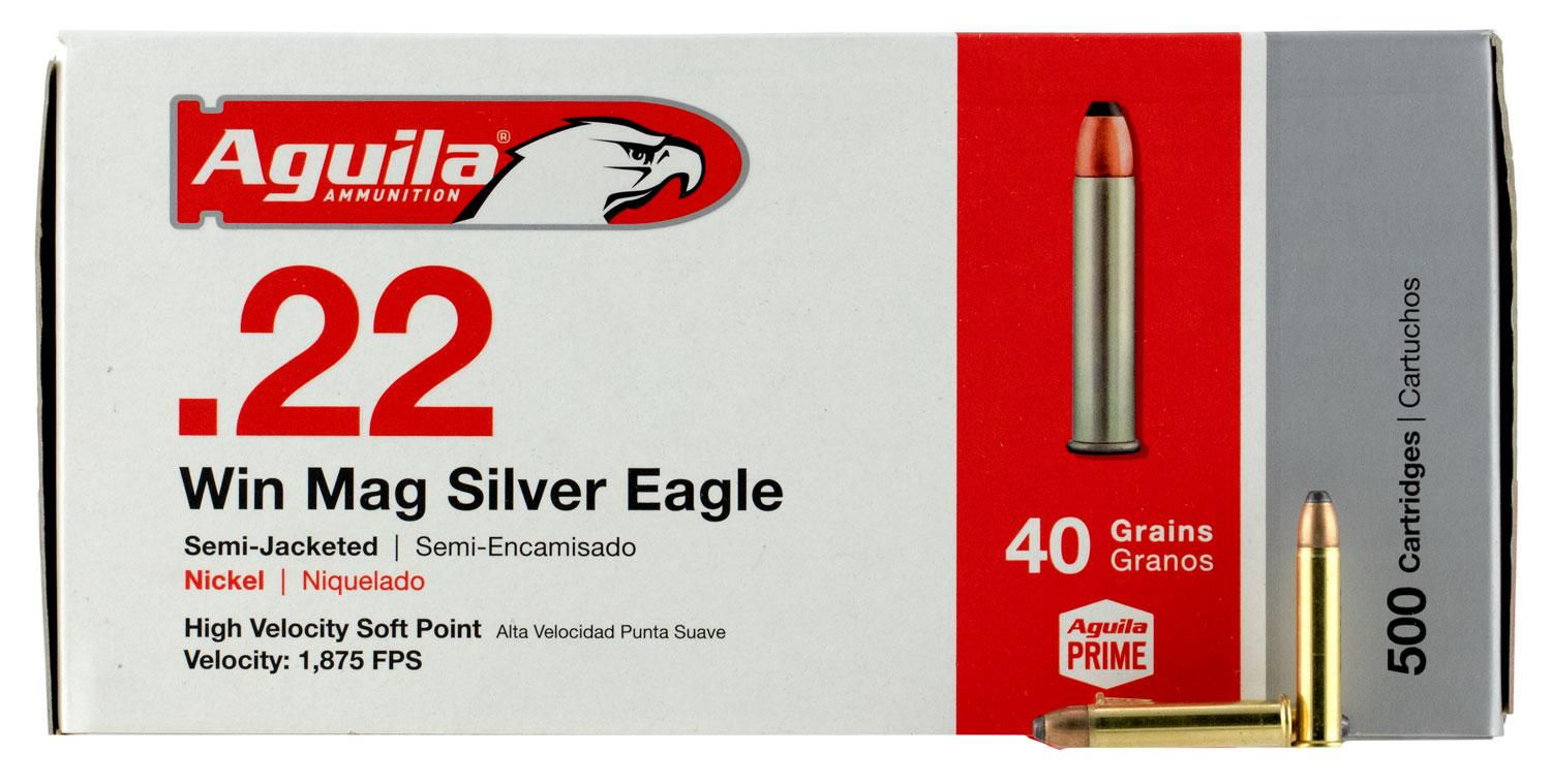 Aguila 1b222400 Silver Eagle 22 Winchester Magnum Rimfire (Wmr) 40 Gr Jacketed Soft Point 50 Bx/20 Cs