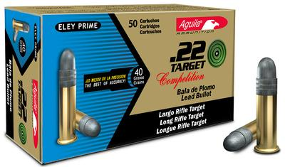 Aguila 1B222500 Target 22 Long Rifle (LR) 40 GR Lead Round Nose 50 Bx/ 100 Cs