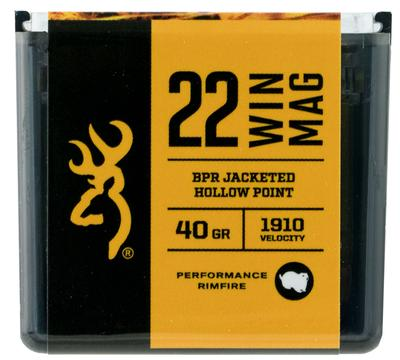 Browning Ammo B195122050 BPR Performance 22 Winchester Magnum Rimfire (WMR) 40 GR Jacketed Hollow Point 50 Bx/ 20 Cs