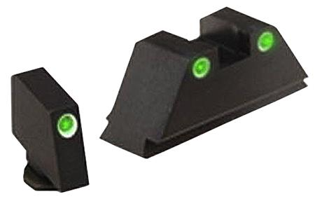 Ameriglo Gl329 Classic 3 Dot Night Sight Glock Suppressed (Except 42) Tritium Green W/White Outline Blk