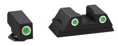 AmeriGlo GL430 Classic 3 Dot Night Sight Glock 42/43 Tritium/Paint Green w/White Outline Blk