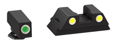AmeriGlo GL431 Classic 3 Dot Night Sight Glock 43 Steel Green w/White Outline Yellow w/White Outline Blk