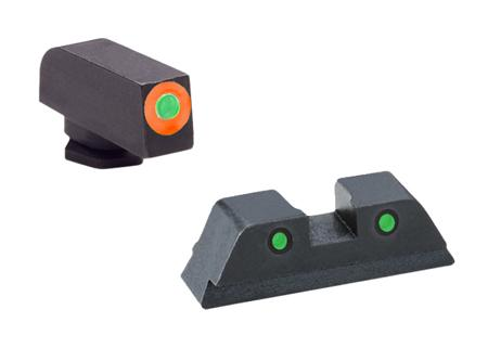 Ameriglo Gl450 Spartan Operator Night Sights Glock 42/43 Steel Green W/Orange Outline Blk