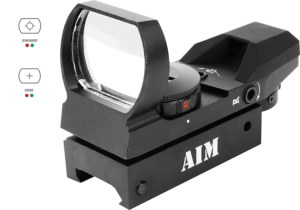 Aim Sports Rt403 Reflex Red Dot 1x 33mm Obj Unlimited Eye Relief Multi- Reticle Black