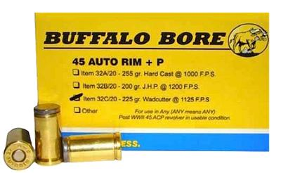 Buffalo Bore Ammunition 32C/20 45 Auto Rim +P 225GR Wadcutter 20Box/12Case