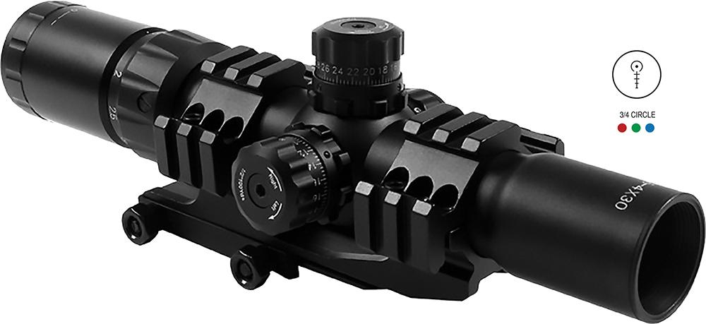 Aim Sports Jthr1 Recon 1.5- 4x 30mm Obj 36.6 Ft @ 100yds Fov 30mm Tube Dia Black Illuminated 3/4 Circle, 3 Color