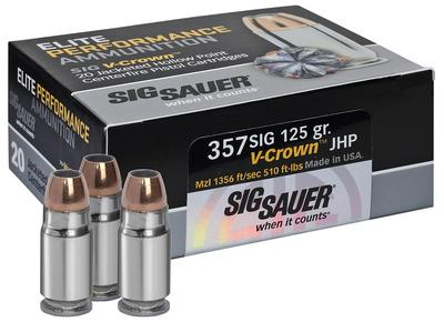 Sig Sauer E357M1-20 V-Crown JHP 357 Magnum 125 GR JHP 20Box/10Case