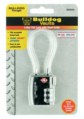 Bulldog BD8022 TSA Lock Cable Combination Black
