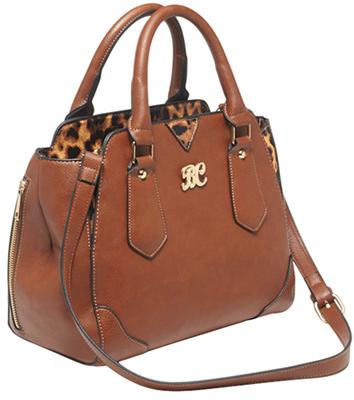 Bulldog BDP024 Satchel Purse Holster Chestnut w/Leopard Trim Leather