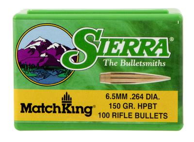 Sierra 1755 MatchKing 6.5mm .264 150 GR Hollow Point Boat Tail 100 Box