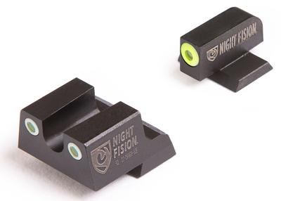 Night Fision CNK026007YGW Night Sight Set Square Front/U-Notch Rear Century Canik TP9SFx/TP9SFL Green Tritium w/Yellow Outline Tritium Green w/White Outline Black