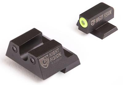 Night Fision CNK027007YGZ Night Sight Set Square Front/U-Notch Rear Century Canik TP9SF/TP9SF Elite/TP9SA Green Tritium w/Yellow Outline Black
