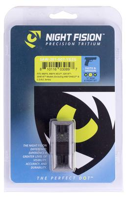 Night Fision SAW201007YGZ Night Sight Set Square Front/U-Notch Rear S&W M&P/SD9 VE/SD40 VE Green Tritium w/Yellow Outline Black