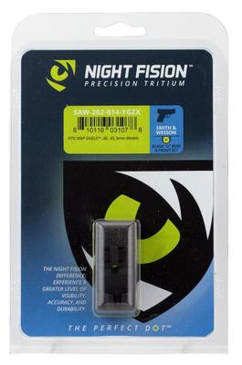 Night Fision SAW202014YGZ Night Sight Set Square Front/U-Notch Rear S&W M&P Shield Green Tritium w/Yellow Outline   Black