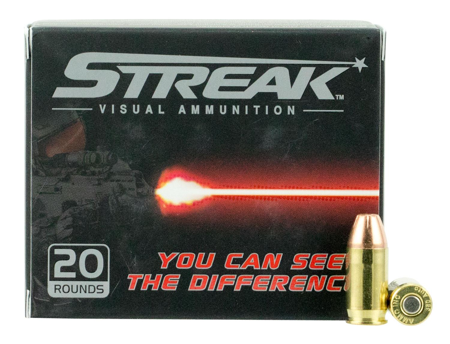 Ammo Inc 380090jhpstr Streak Red 380 Automatic Colt Pistol (Acp) 90 Gr Jacketed Hollow Point 20 Bx/10 Cs