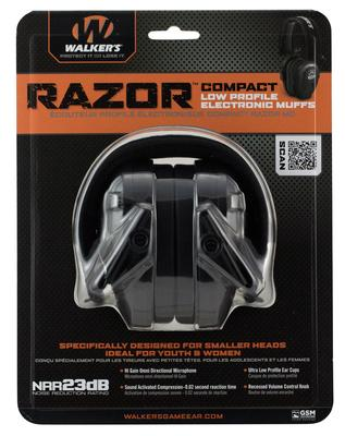 Walkers Game Ear GWPCRSEM Razor Electronic Compact Muff 23 dB Black