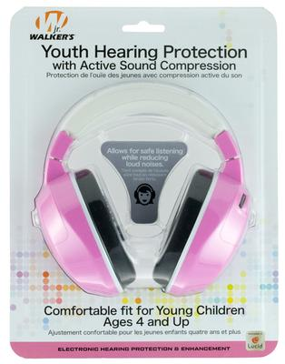 Walkers Game Ear GWPYAMPK Youth Active Muff Electronic 22 dB Pink