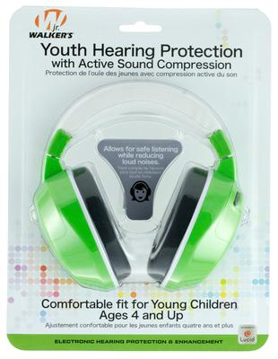 Walkers Game Ear GWPYAMG Youth Active Muff Electronic 22 dB Green
