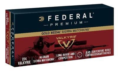 Federal GM224VLK1BAG Gold Medal 224 Valkyrie 90 GR Sierra MatchKing BTHP 4-20rd Boxes & Bag