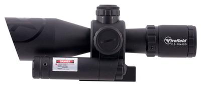 Firefield FF13066 Barrage with Picatinny Mount/Green Laser 2.5-10x 40mm Obj 34.86-11.53 ft @ 100 yds FOV  Tube Black Matte Illuminated Mil-Dot Red/Green