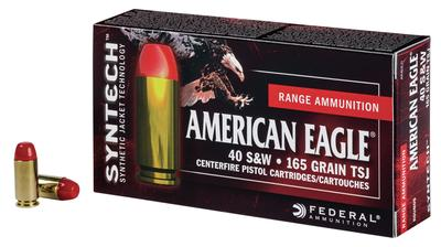 Federal AE40SJ1200 American Eagle Syntech 40 Smith & Wesson (S&W) 165 GR Total Synthetic Jacket (TSJ) 200 Bx/ 5 Cs