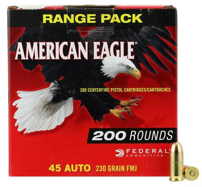 Federal AE45A2000 American Eagle 45 Automatic Colt Pistol (ACP) 230 GR Full Metal Jacket 200 Bx/ 5 Cs