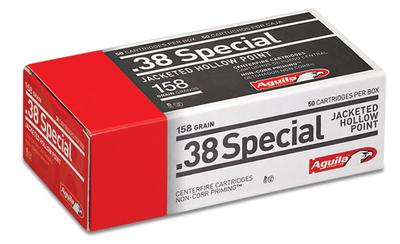Aguila 1E382520 38 Special 158 GR Semi-Jacketed Hollow Point 50 Bx/ 10 Cs