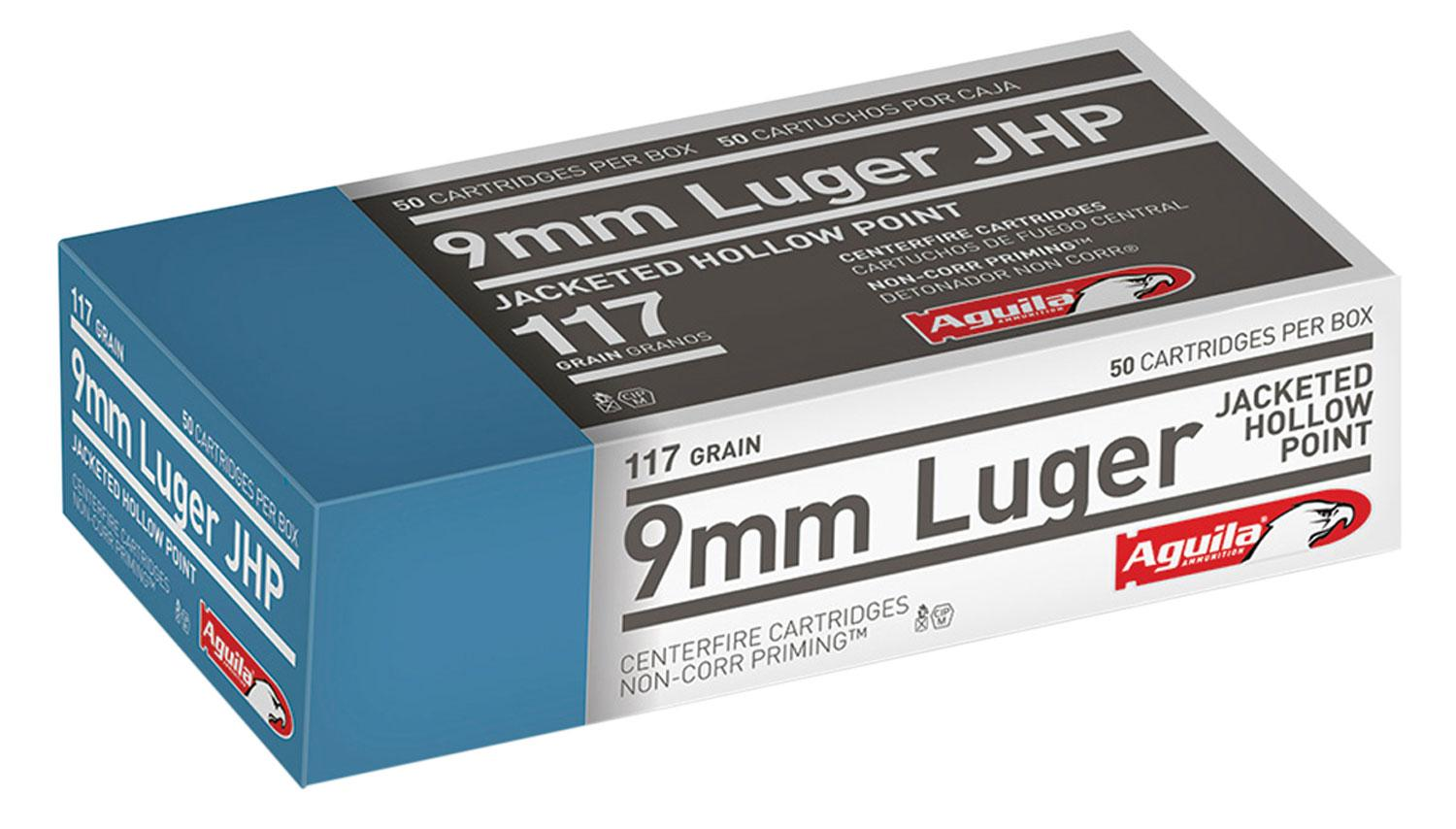 Aguila 1e092112 9mm Luger 117 Gr Jacketed Hollow Point 50 Bx/10 Cs