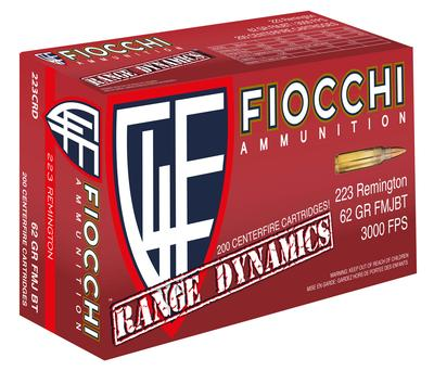 Fiocchi 223CRD Range Dynamics 223 Remington/5.56 NATO 62 GR Full Metal Jacket Boat Tail 200 Bx/ 5 Cs