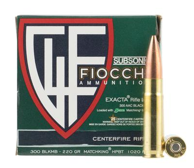 Fiocchi 300BLKMB Exacta Match 300 AAC Blackout/Whisper (7.62x35mm) 220 GR Hollow Point Boat Tail 25 Bx/ 20 Cs