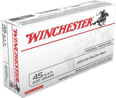 Winchester Ammo USA45GJHP Best Value 45 Glock Automatic Pistol (GAP) 230 GR Jacketed Hollow Point 50 Bx/ 10 Cs