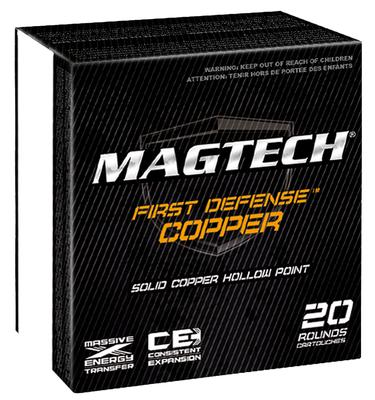 Magtech FD40A First Defense 40 Smith & Wesson (S&W) 130 GR Solid Copper Hollow Point 20 Bx/ 50 Cs