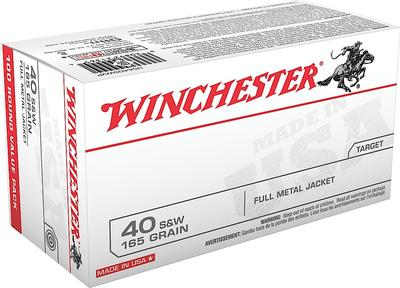 Winchester Ammo USA40SWVP Best Value 40 Smith & Wesson (S&W) 165 GR Full Metal Jacket 100 Bx/ 5 Cs