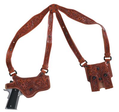 El Paso Saddlery SPMP40RR Spyder Shoulder System Full Size/Compact S&W M&P Leather Russet