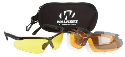 Walkers Game Ear GWPASG4L2 Sport Glasses Black Polymer Frame Polycarbonate Lenses Clear/Yellow/Amber/Brown