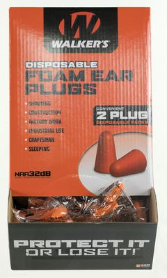 Walkers Game Ear GWPFP200BX Foam Ear Plugs 100 Pair Earplugs 32 dB Orange (200 Ct)
