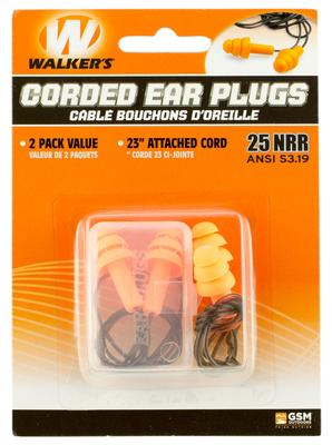 Walkers Game Ear GWPEPCORD2PK Corded Foam Ear Plugs 25 dB Orange 2pk