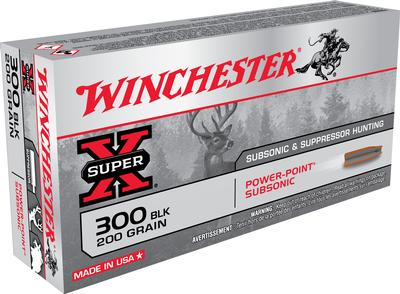 Winchester Ammo X300BLKX Super-X 300 AAC Blackout/Whisper (7.62X35mm) 200 GR Hollow Point SubSonic 20 Bx/ 10 Cs