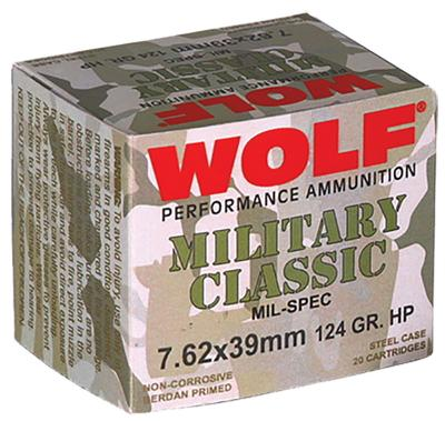 Wolf MC762BHP Military Classic 7.62x39mm Jacketed Hollow Point 124 GR 1000 Rds