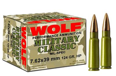 Wolf MC762BSP Military Classic 7.62x39 Soft Point 124 GR 1000 Rds