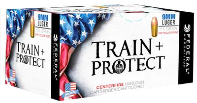Federal TP9VHP1 Train and Protect 9mm Luger 115 GR Verstile Hollow Point (VHP) 50 Bx/ 10 Cs