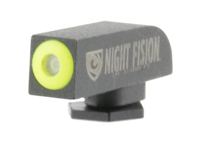 Night Fision GLK00101YGXX Night Sight Front Square Top All Glock Green Tritium w/Yellow Outline Black