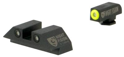 Night Fision GLK00103YGZG Night Sight Set Square Glock 17/17L/19/22-28/31-35/37-39 Tritium Green Tritium w/Yellow Outline Tritium Green Tritium Black