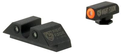 Night Fision GLK00107OGWG Night Sight Set Square Front/U-Notch Rear Glock 17/17L/19/22-28/31-35/37-39 Tritium Green Tritium w/Orange Outline Tritium Green Tritium w/White Outline Black