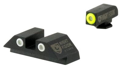 Night Fision GLK00303YGWG Night Sight Set Square Glock 42/43 Tritium Green Tritium w/Yellow Outline Tritium Green Tritium w/White Outline Black