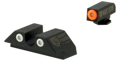 Night Fision GLK00307OGZG Night Sight Set Square Front/U-Notch Rear Glock 42/43 Tritium Green Tritium w/Orange Outline Tritium Green Tritium Black